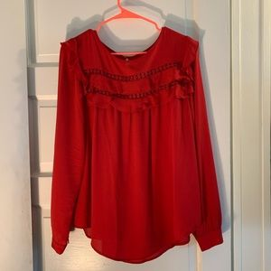 NWT LOFT red long sleeved blouse with ruffles